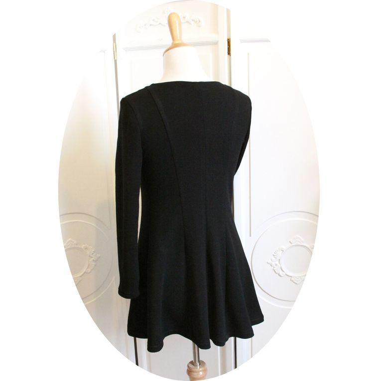 Pull &quot&#x3B;patineuse&quot&#x3B;, tunique longue et cintrée en laine noire