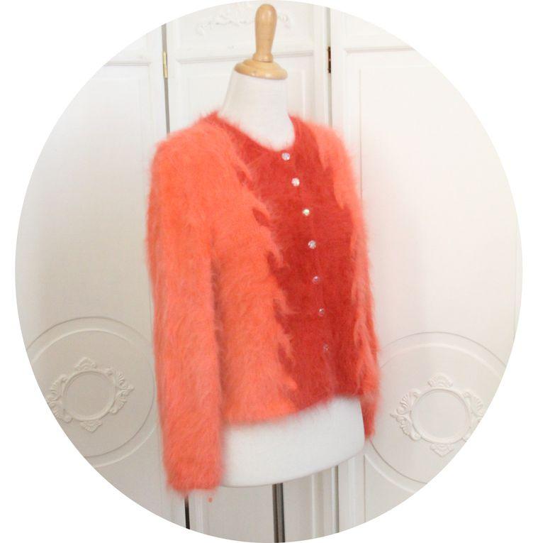 Gilet en laine pur angora rose corail clair et foncé