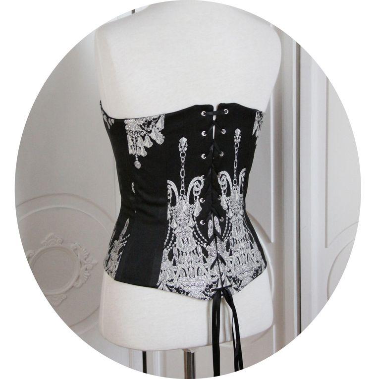 Bustier- corset Baroque, motif argent sur fond noir