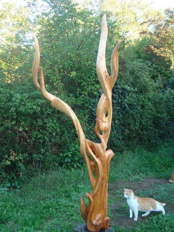 Sculptures bois taillées dans la masse, ou par assemblage.