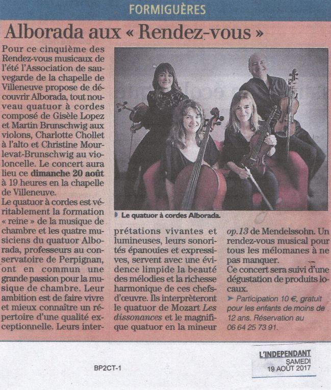 Concert à la chapelle de Villeneuve de Formiguères. Martin Brunschwig et Gisèle Lopez, violons / Sabina Ayats, alto / Christine Mourlevat-Brunschwig, violoncelle.