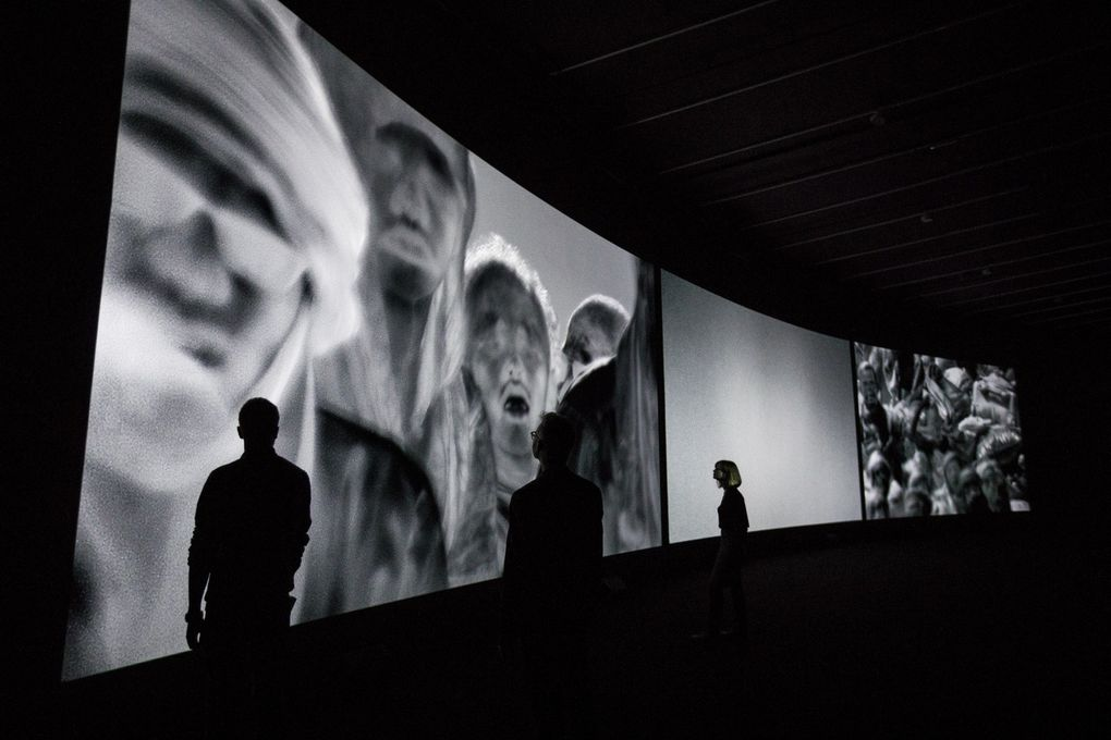 Incoming Installation View Richard Mosse in collaboration with Trevor Tweeten and Ben Frost The Curve, Barbican Centre 15 Feb – 23 Apr 2017 Photo by Tristan Fewings / Getty images