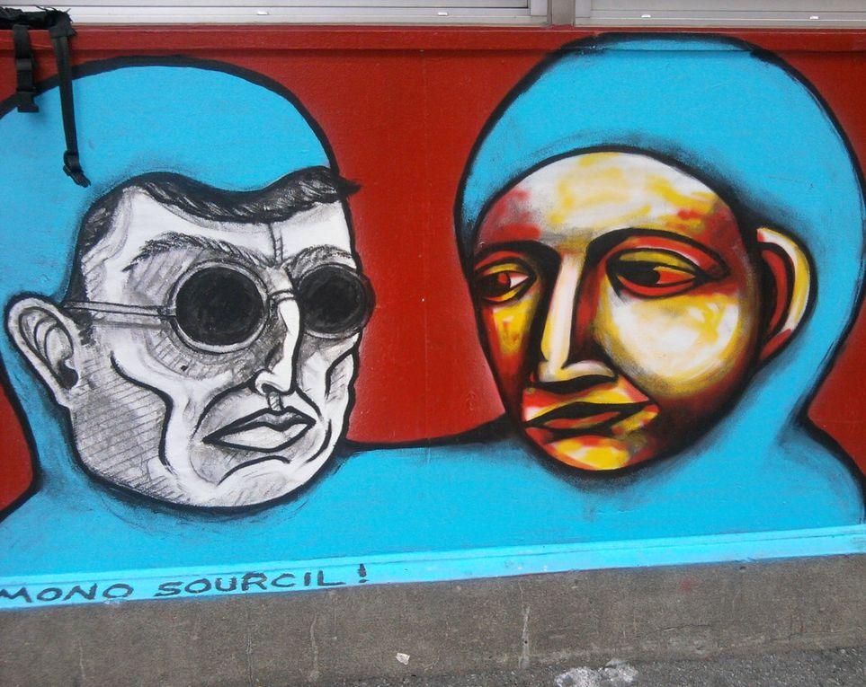 Quand les personnages de Mono Sourcil et Labrona se retrouvent côte à côte sous la forme de collages ou de peintures.