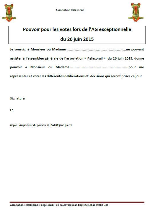 ASSEMBLEE GENERALE 26 JUIN 2015