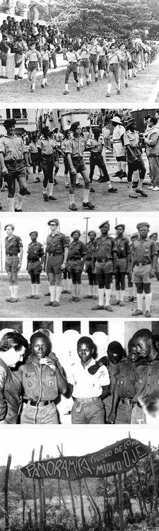 Desfile de la OJE, Guinea española, años 1960.- El Muni.