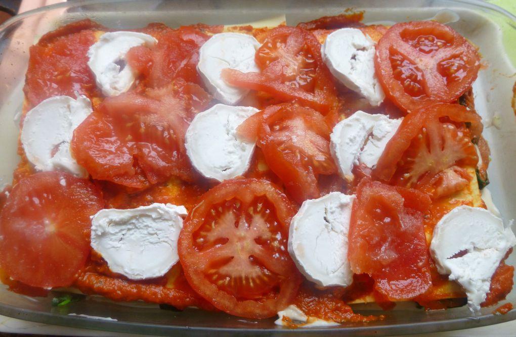lasagnes épinards,tomate,chèvre