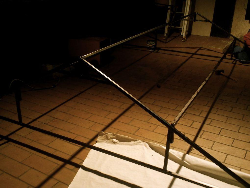 Fabrication de notre espace scene, soudure de la structure en acier.3M/2,5M
