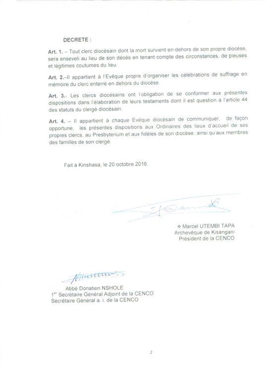 DISPOSITIONS DE LA CENCO SUR L'ENSEVELISSEMENT D'UN CLERC DIOCÉSAIN DÉCÉDÉ EN DEHORS DE SON DIOCÈSE