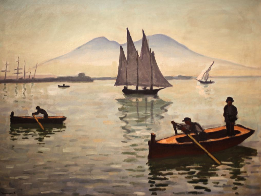 """Naples, le voilier"", 1909 et ""le port de Naples"", 1908 d'Albert Marquet © Photo Éric Simon"