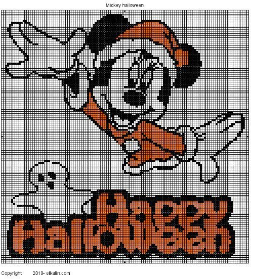 Mickey Halloween, broderie main et machine
