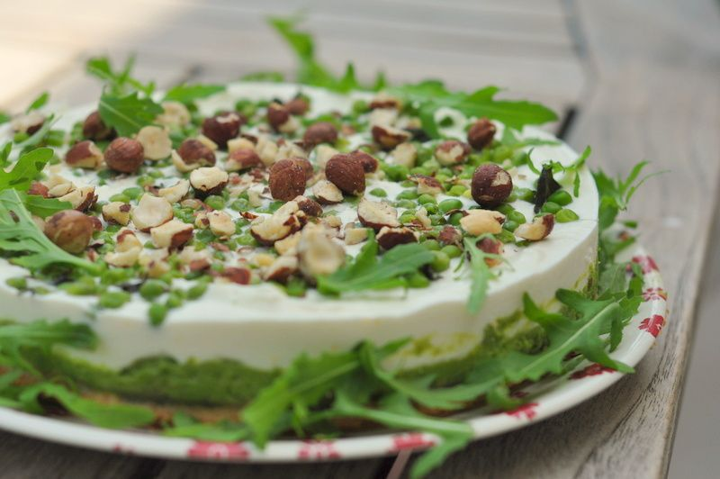 Cheesecake printanier aux petits pois, sans cuisson