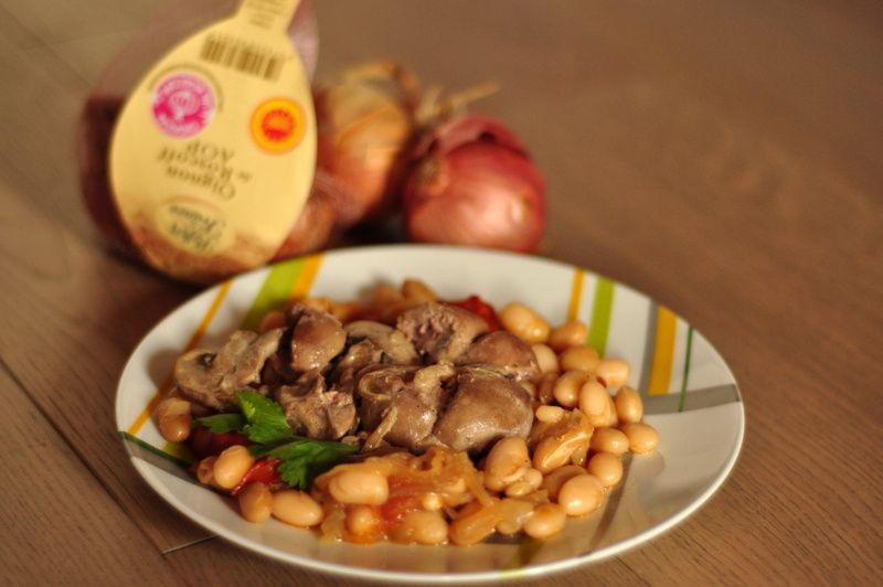 Rognons de veau aux oignons de Roscoff et cocos de Paimpol