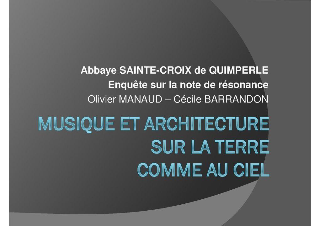 Diaporama de la conférence du 5 juillet à l'abbaye Sainte-Croix de Quimperlé