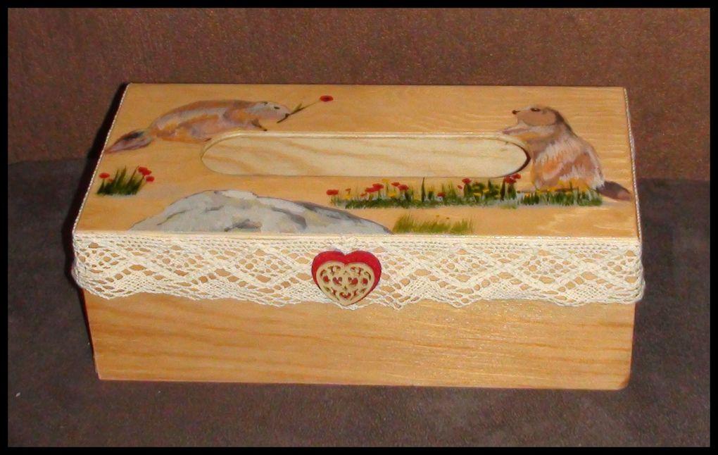 Boite à mouchoirs en bois rectangulaire campagne et montagne