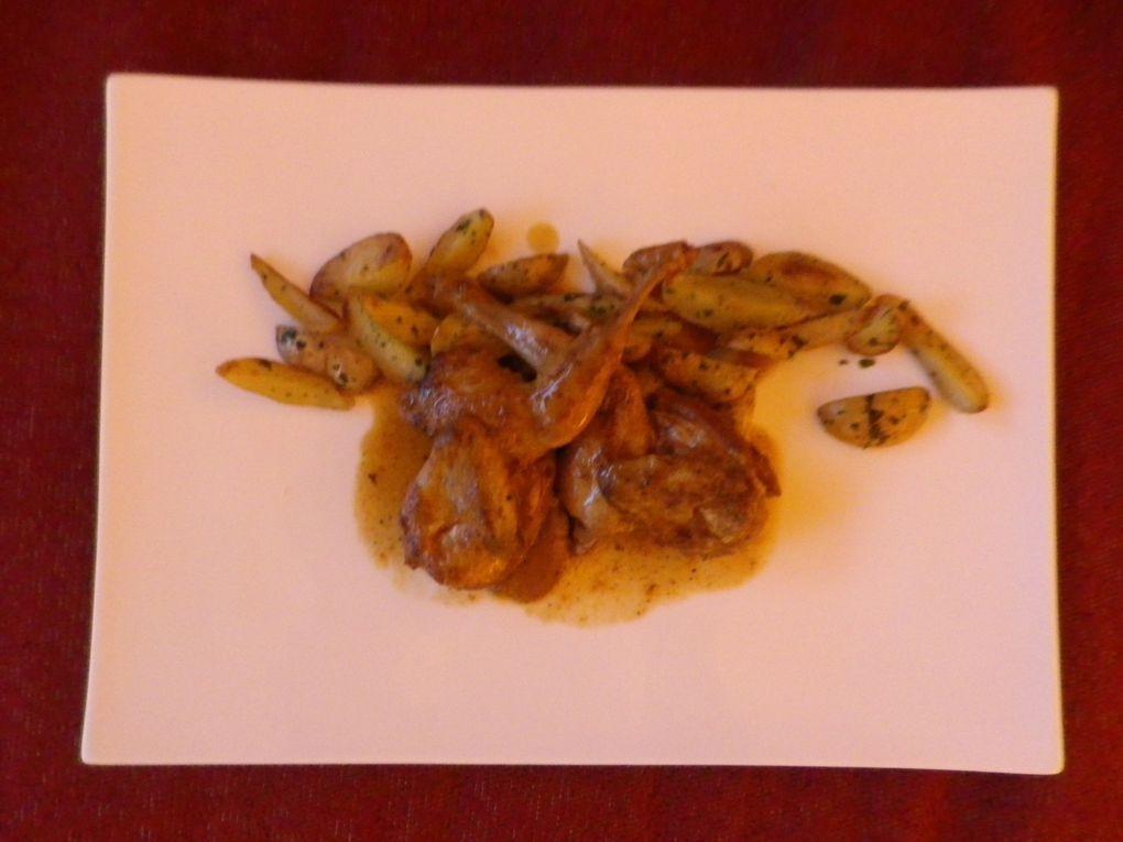 """feuilletés au gruyère, gravelax de saumon à l'aneth/crème raifort, caille à l'orange/pommes de terre poelées, pomme au four """"à ma façon""""."""