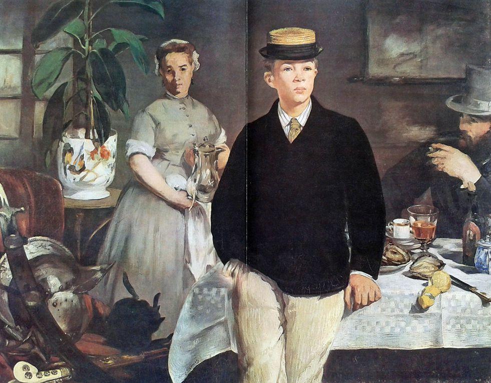 Déjeuner dans l'atelier - 1868 - Münich - Staatsgalerie // Claude Monet sur son atelier flottant à Argenteuil - 1874 - Münich New Pinakotek // Le bar aux Folies Bergères - 1881/1882 - Londres - Institue of Art.