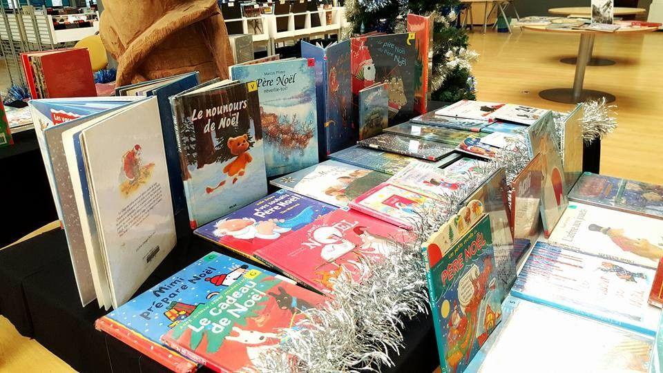 Affiche Livre Paris et la bibliothèque de Poindimié en tenue de Noël