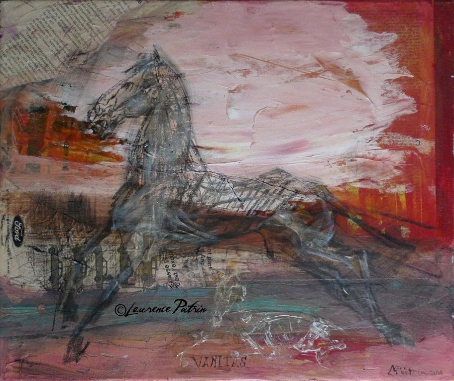 Chevaux Formats Moyens Collages & acryliques sur toile/ acrylics on canvas - laurieartwork@gmail.com