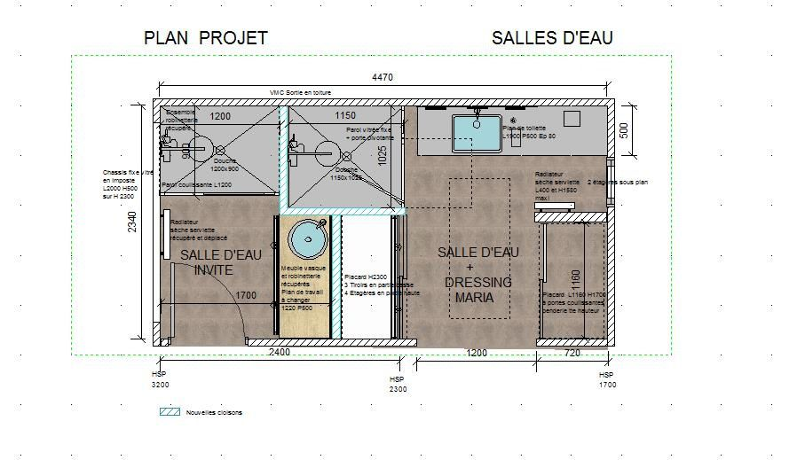 Restructuration de l'espace de l'étage,création d'une autre salle d'eau avec dressing