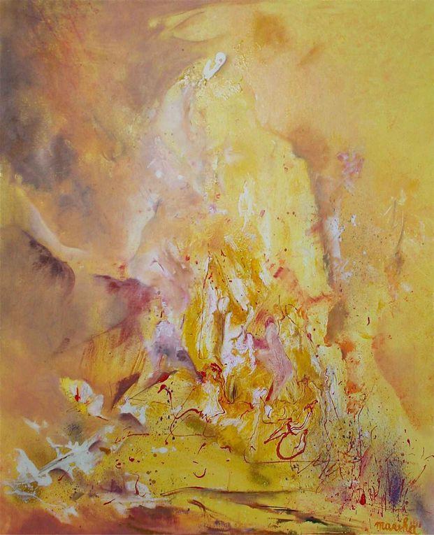 """Dernières toiles en préparation de l'expo sur """" Les couleurs de l'amour""""... tout un programme."""