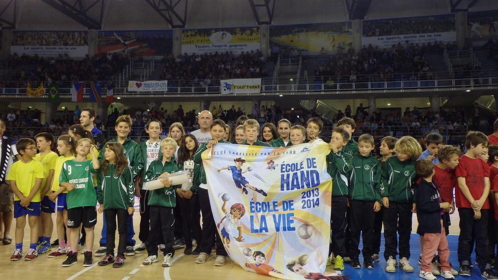 Remise du Label Ecole de Handball à la mi temps de Toulon St Cyr / Le Havre
