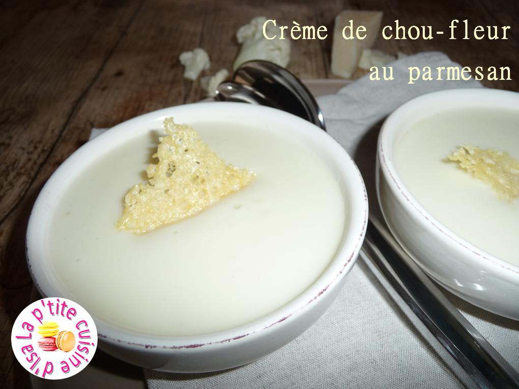 Crème de chou-fleur au parmesan et tuiles croustillantes