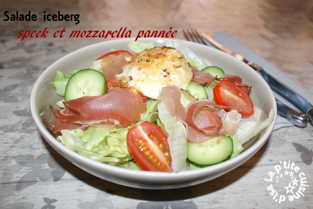 Salade speck et mozzarella pannée