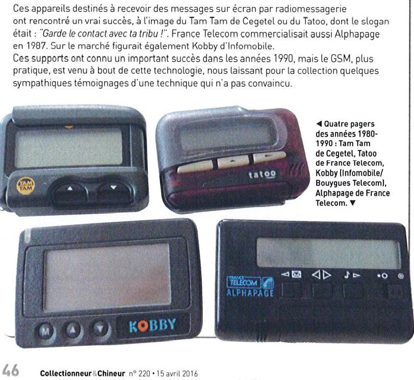 L'histoire des PAGERS SMS et MMS (Texto) avec Alphapage Eurosignal Tatoo et TamTam ...