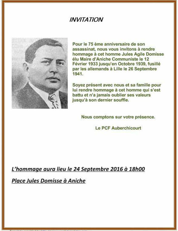 24 septembre 2016 : 75e anniversaire de la mort de Jules Domisse célébré sur la place Domisse à Aniche