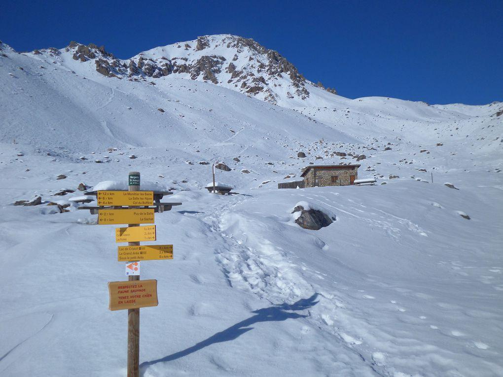 départ de la Bergerie (2090m) et montée à ski de fond (avec peaux) au Col du Granon (2413m) puis sur les Crètes (2500m) ! quel spectacle !! un régal !!