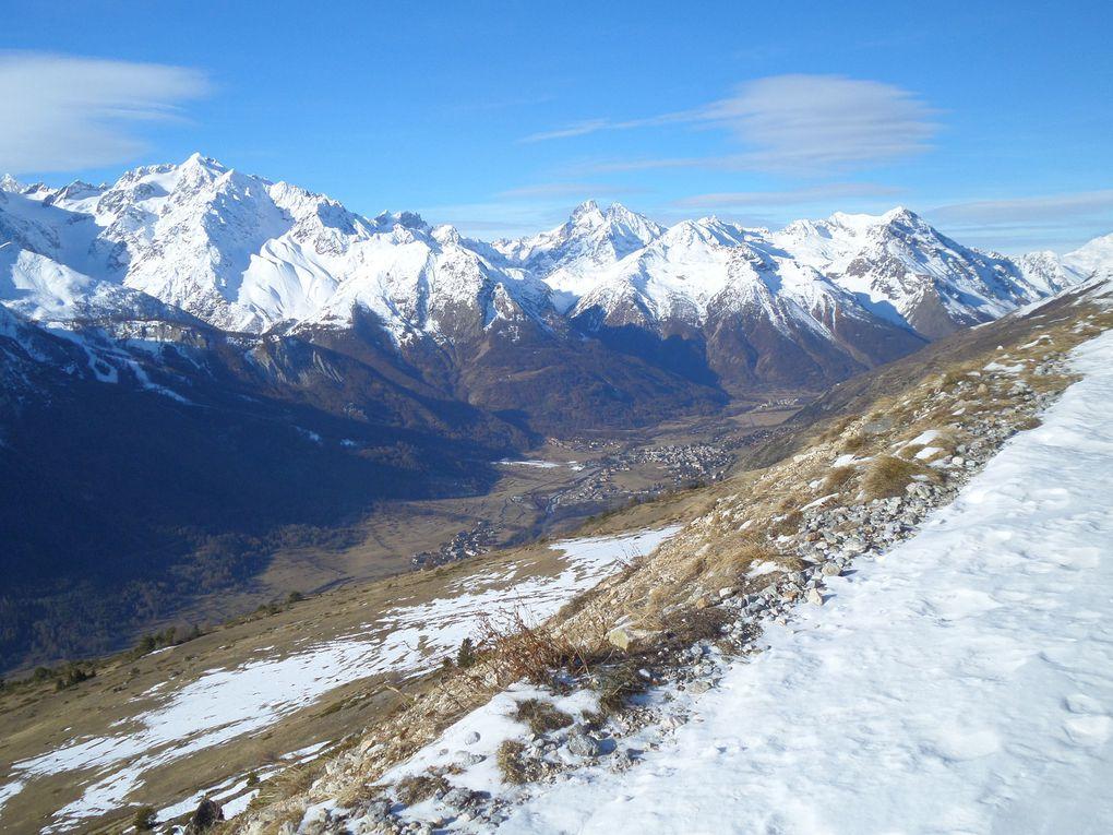 au départ de St Joseph (2170m), balade à ski de fond (avec peaux) sur les chemins du Col Buffère et du Col des Cibières ! le vent a soufflé et durci la neige ! vivement la prochaine chute de neige fraiche !!