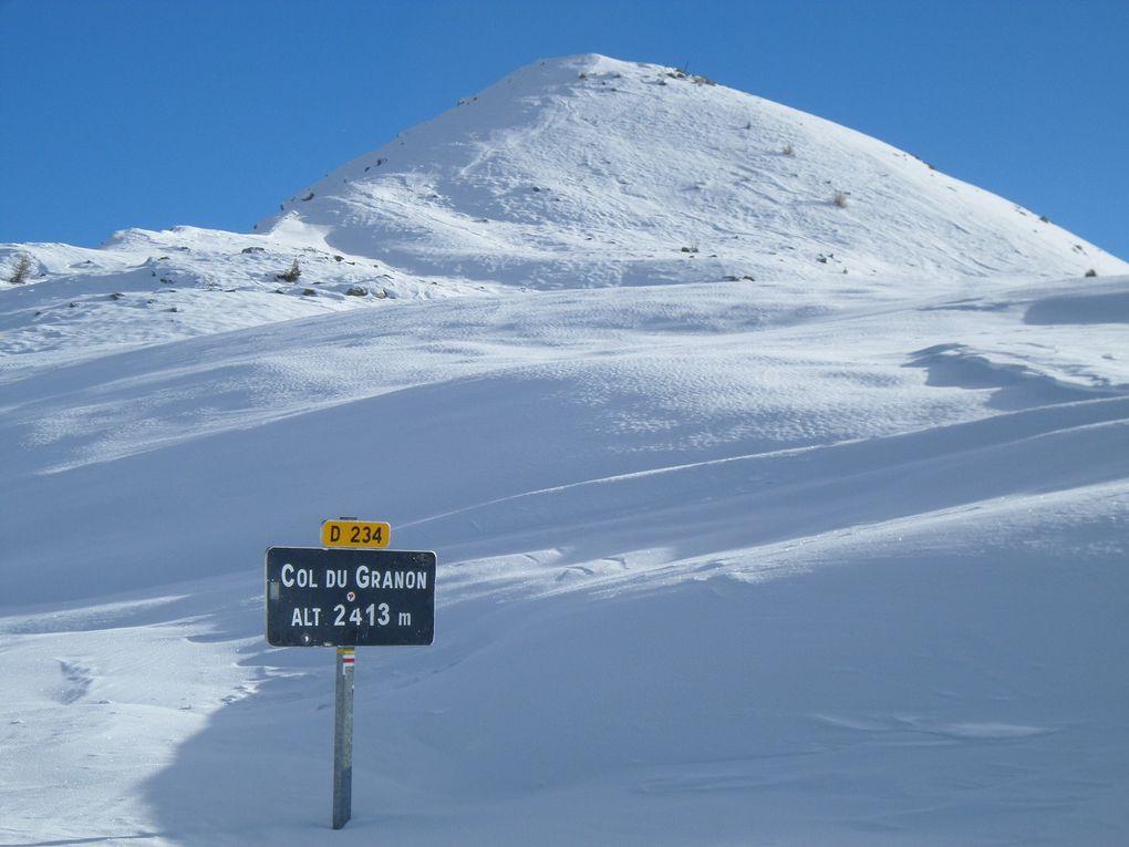 départ de St Joseph (2170m) , montée à ski de fond (avec peaux) au Col du Granon (2413m) puis itinéraire en balcon jusqu'au Col des Cibières (2525m) au pied de la Gardiole !!