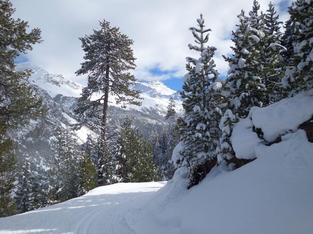 départ du Laus (1745m) près de Cervières, montée à ski de fond sur le circuit en balcon de la Pinatelle (1950m) puis jusqu'au bout du vallon des Oules (2000m) !! c'est jour de Festinordic au Laus !! belle neige poudreuse et beau soleil !!
