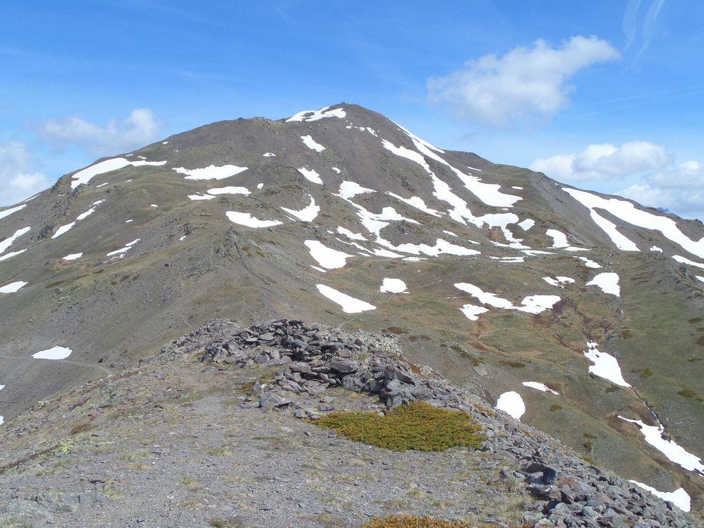départ du Col du Granon (2413m) et montée par les crètes jusqu'au Col des Cibières (2525m) puis montée au sommet de la Gardiole (2753m) !! beau belvédère entouré des lacs de Cristol et du Lac de l'Oule pour ce 31 Mai !!