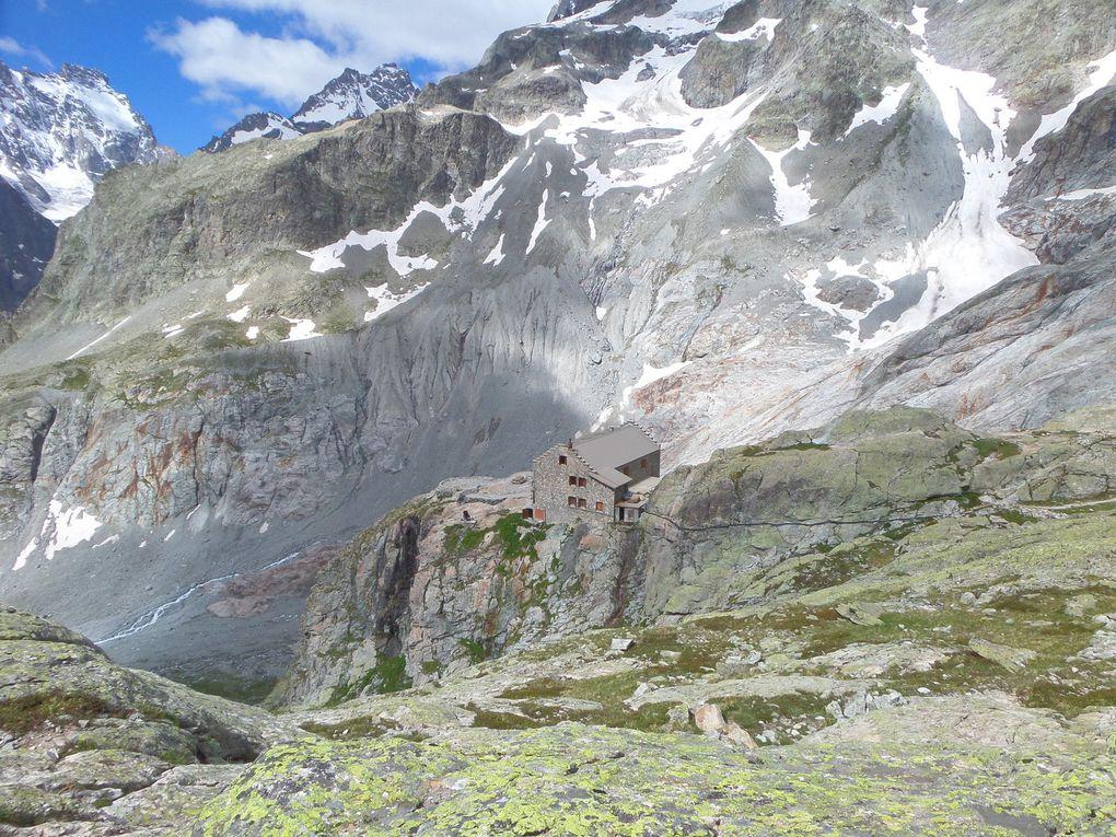 départ du Pré de Madame Carle (1874m) et montée au Refuge du Glacier Blanc (2542m) !! vent, nuages et soleil !!