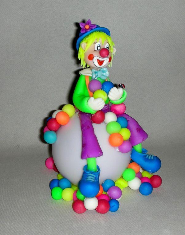Veilleuse led avec Clown fluo en porcelaine froide