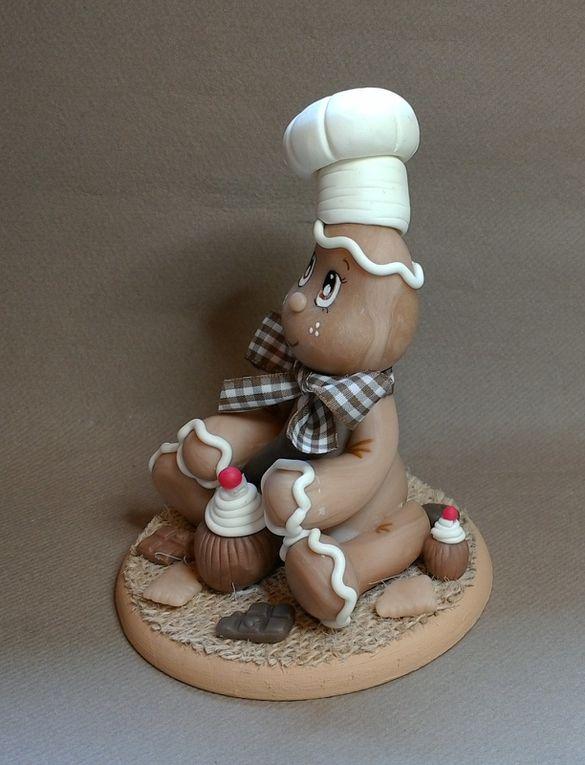 Bonhomne en pain d'épice &quot&#x3B;Ginger&quot&#x3B; en porcelaine froide