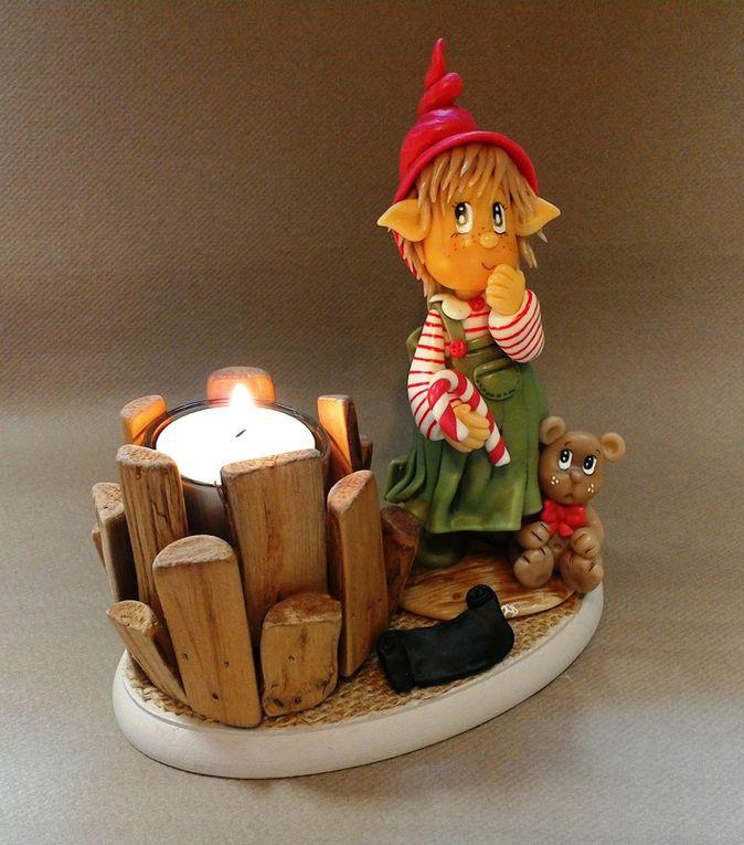 Porte-bougie avec Petite elfe de Noël