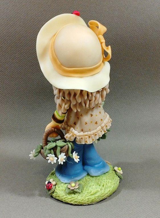 Fillettes thème Sarah Kay en porcelaine froide