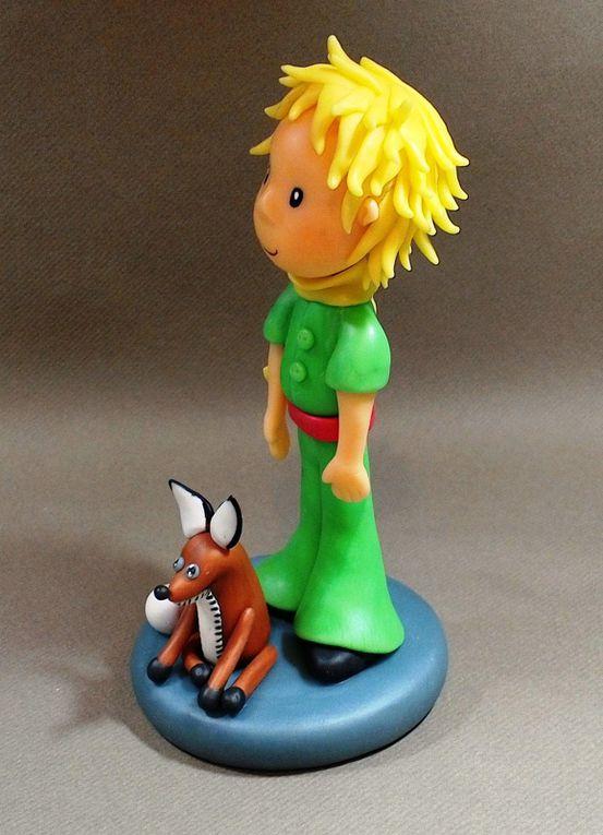Le petit prince et le renard en porcelaine froide