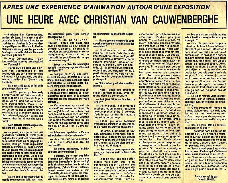 1976. Ma première expo à Libramont et ma 2e avec JP Ransonnet au Casino de Marche-en-Famenne. Michel De Paepe et le CDA&#x3B; Séjour à Biot