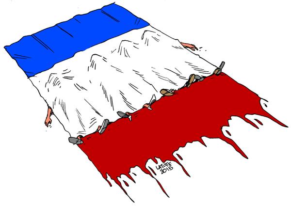 Dessins de : 1/ Les Cartons.  2/ Latuff   3/ De Castelbajac   4/ Plantu   5/  Baudry  Arnold Schwarzenger