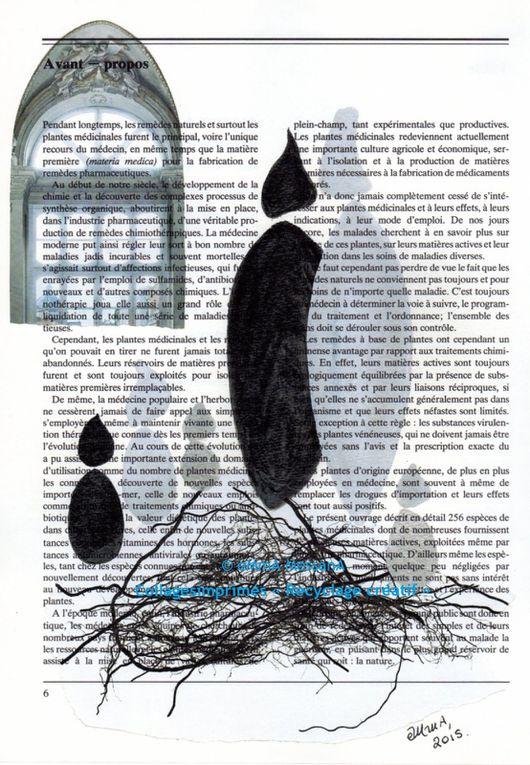 Les Collages d'eMmA MessanA. Impressions (format A4) sur pages beiges d'un livre de plantes médicinales, pièces uniques
