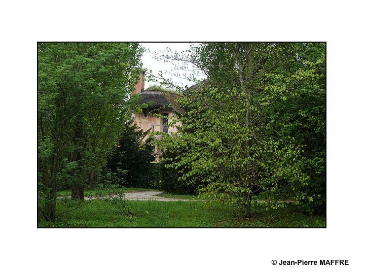 Les chaumières et les arbres du Hameau de Marie-Antoinette nous plongent dans l'atmosphère des tableaux du 18eme siècle.