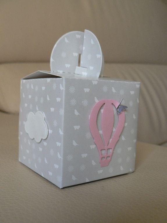 boite bébé fille montgolfière et papillons