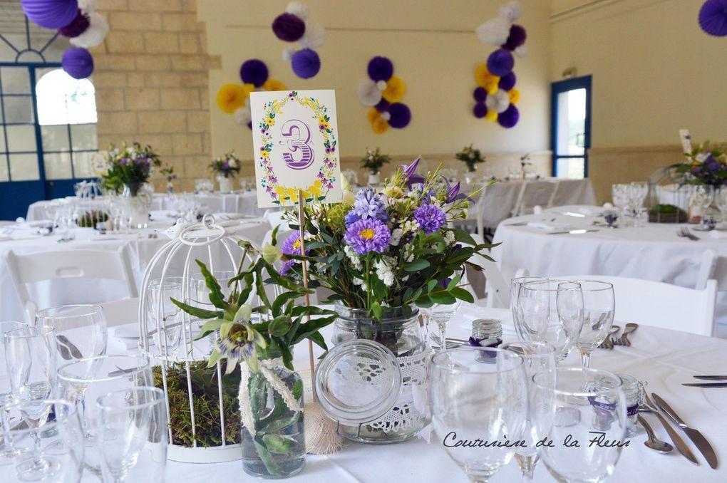 mariage vintage jaune violet salle de l 39 orangeraie salinelles fleuriste mariage vintage. Black Bedroom Furniture Sets. Home Design Ideas