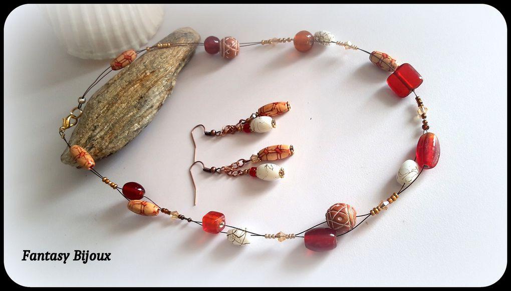 Couleurs d'Automne ! Parure sur cable , perles de verre et perles de bois .