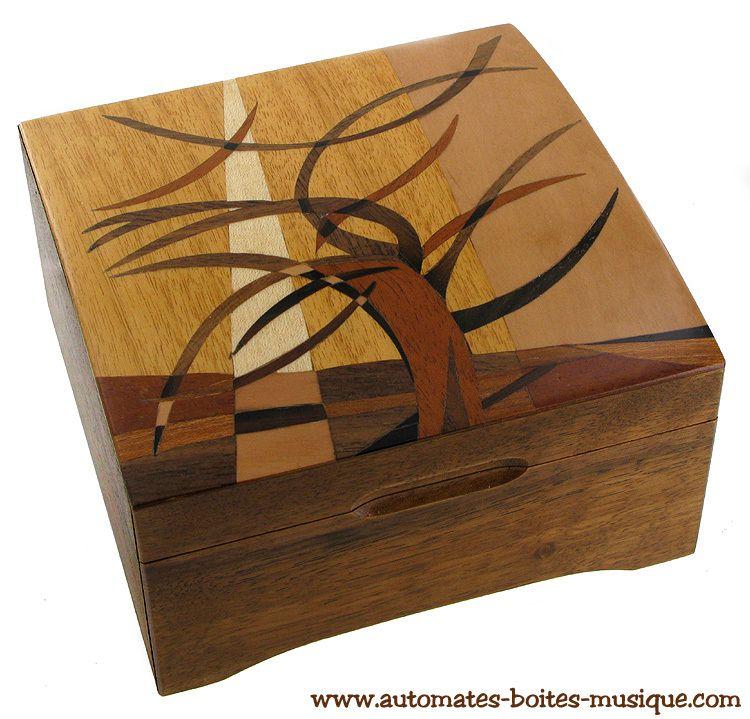 Boîtes à musique / boîtes à bijoux musicales en bois marqueté chez Lutèce Créations