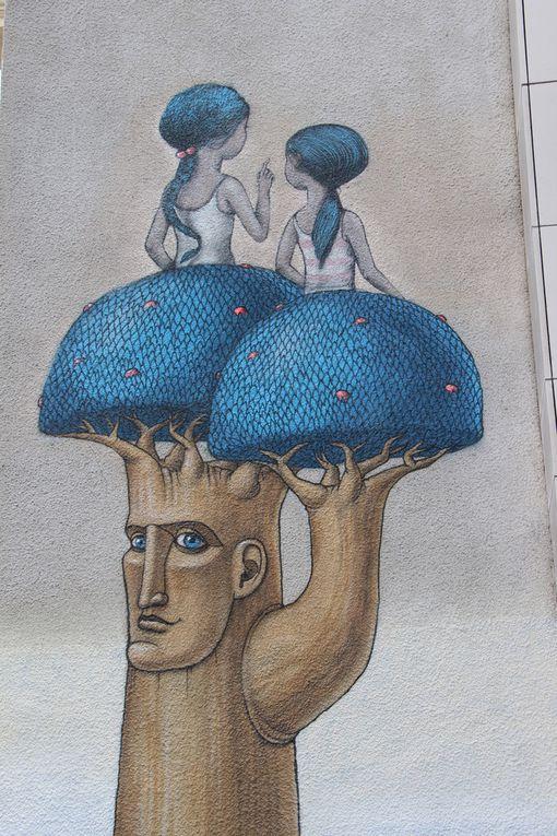 Rue Babillot - Paris 13e - fresque réalisée avec Kislow, artiste surréaliste Ukrainien.