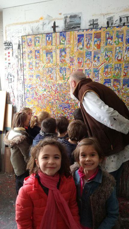 Les CP Lalanne visitent l'atelier d'art de Jean-Albert Bourgade.